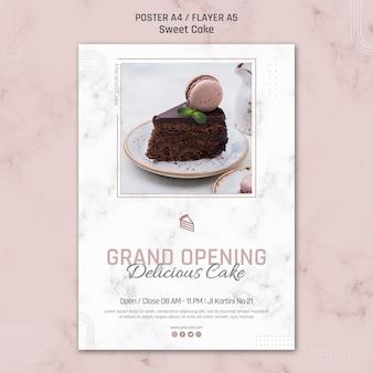Plantilla de cartel de delicioso pastel de gran inauguración
