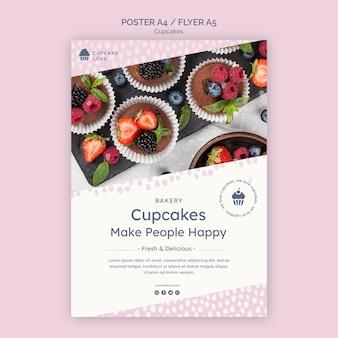 Plantilla de cartel de deliciosos cupcakes con foto