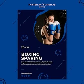 Plantilla de cartel de deporte de entrenamiento de ahorro de boxeo