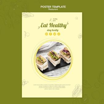 Plantilla de cartel para desayuno saludable con sándwiches.