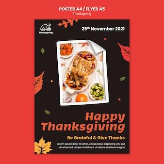 Plantilla de cartel de día de acción de gracias con hojas de otoño