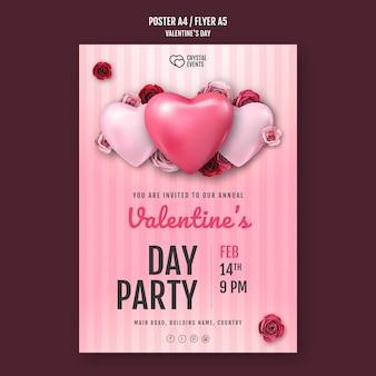 Plantilla de cartel para el día de san valentín con corazón y rosas rojas