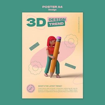 Plantilla de cartel de diseño 3d