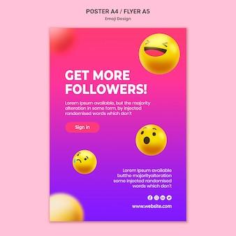Plantilla de cartel de diseño de emoji
