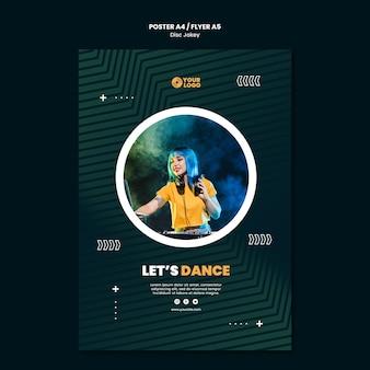Plantilla de cartel de dj vamos a bailar