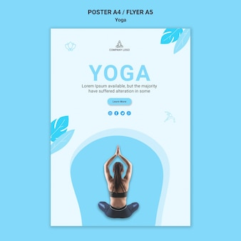 Plantilla de cartel para ejercicio de yoga