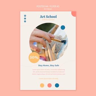Plantilla de cartel de escuela de arte