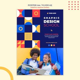 Plantilla de cartel de escuela de diseño gráfico