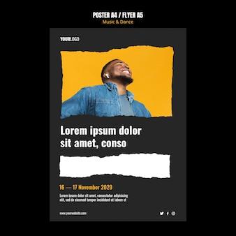 Plantilla de cartel de evento de música y danza