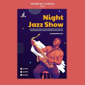 Plantilla de cartel para evento de música jazz.