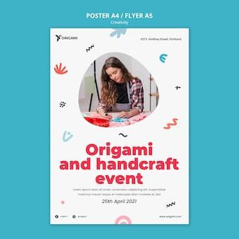 Plantilla de cartel de evento de origami