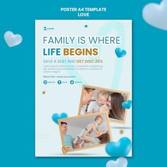 Plantilla de cartel de familia feliz junta