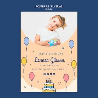 Plantilla de cartel de feliz cumpleaños con foto