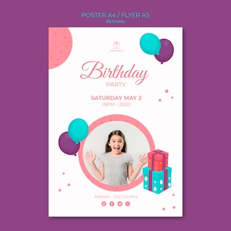 Plantilla de cartel de feliz cumpleaños niña