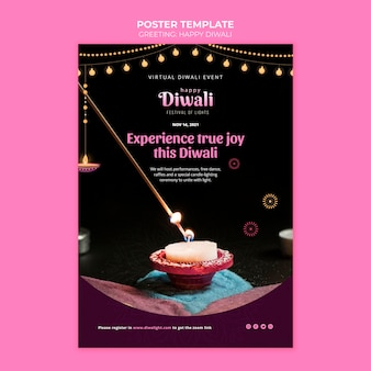 Plantilla de cartel de feliz diwali
