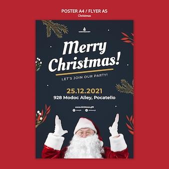 Plantilla de cartel de feliz navidad