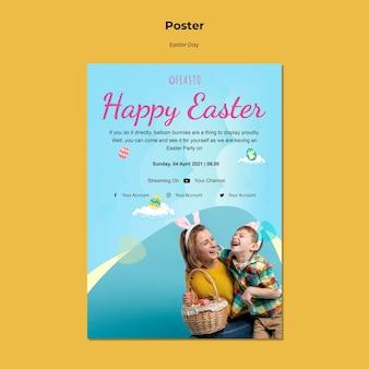 Plantilla de cartel de feliz pascua