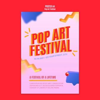Plantilla de cartel de festival de arte pop