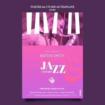 Plantilla de cartel para festival y club de jazz.