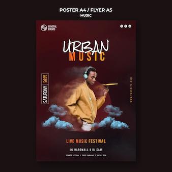 Plantilla de cartel de festival de música urbana