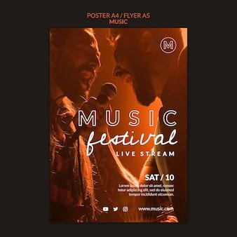 Plantilla de cartel de festival de música