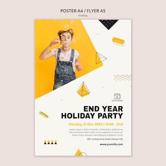 Plantilla de cartel de fiesta navideña