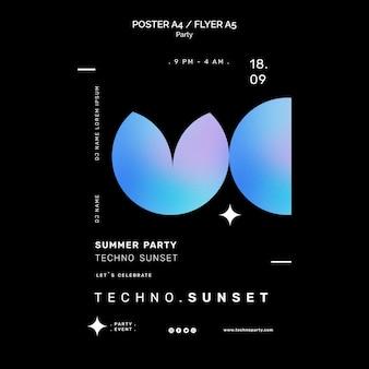 Plantilla de cartel de fiesta techno de verano