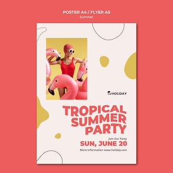 Plantilla de cartel de fiesta de verano tropical