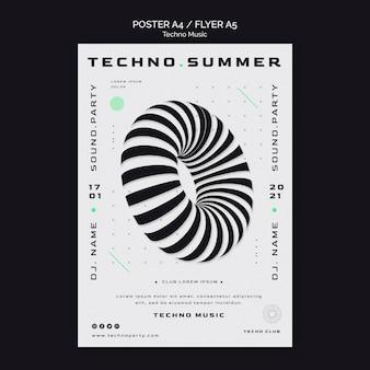 Plantilla de cartel de forma abstracta de festival de música techno