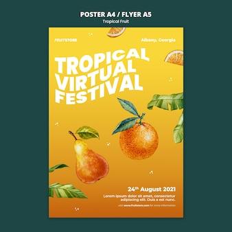 Plantilla de cartel de frutas tropicales