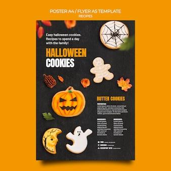 Plantilla de cartel de galletas de halloween