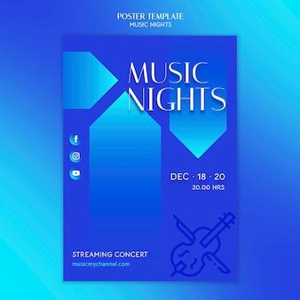 Plantilla de cartel de gradiente vertical para festival de noches de música