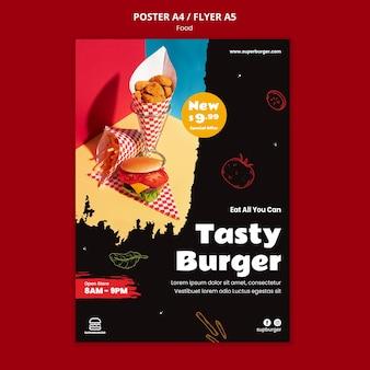 Plantilla de cartel de hamburguesa sabrosa