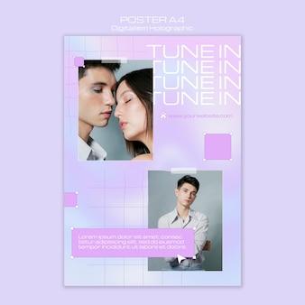 Plantilla de cartel holográfico de digitalismo de pareja