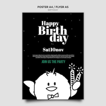 Plantilla de cartel de invitación de cumpleaños