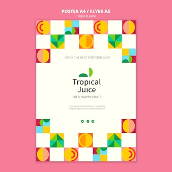 Plantilla de cartel de jugo tropical