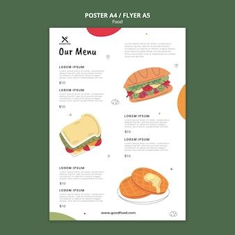 Plantilla de cartel de menú de comida