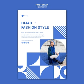 Plantilla de cartel de moda hijab a4