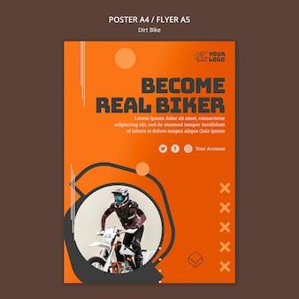 Plantilla de cartel de moto de cross