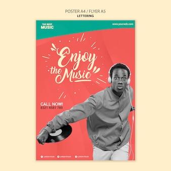 Plantilla de cartel de música con foto