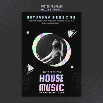 Plantilla de cartel de música house