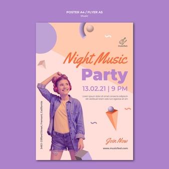 Plantilla de cartel para música con mujer usando auriculares y bailando