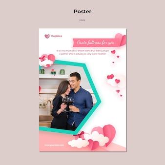 Plantilla de cartel de pareja linda