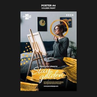 Plantilla de cartel de pintura dorada