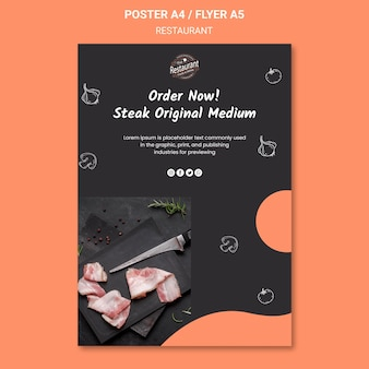 Plantilla de cartel de promoción de restaurante