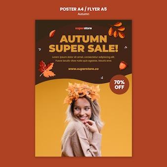 Plantilla de cartel de rebajas de otoño verano