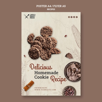 Plantilla de cartel de receta de galletas caseras deliciosas