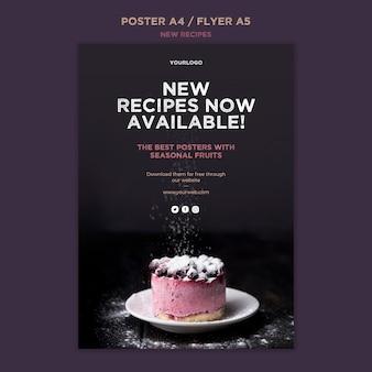 Plantilla de cartel de recetas dulces