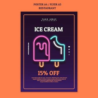 Plantilla de cartel de restaurante abstracto con helados de neón