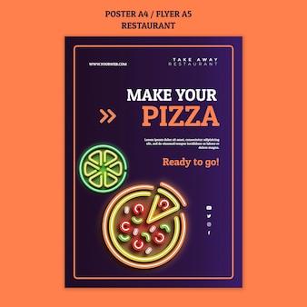 Plantilla de cartel de restaurante abstracto con pizza de neón